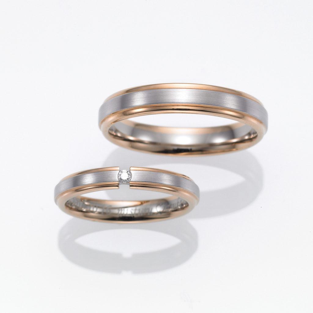 FISCHER 結婚指輪 シンプル キュート ストレート ホワイトゴールド コンビ