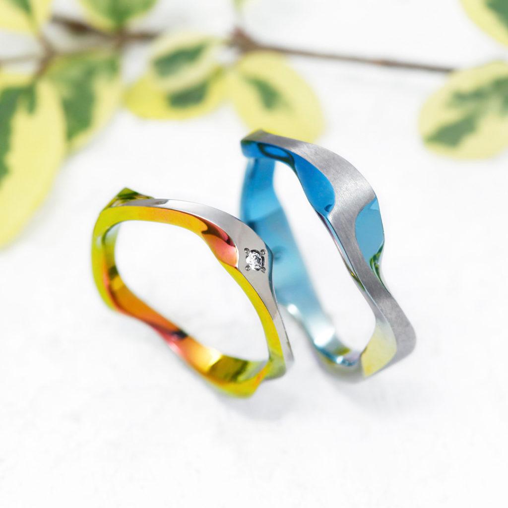 FJORD 結婚指輪 個性派 S字(ウェーブ) ジルコニウム