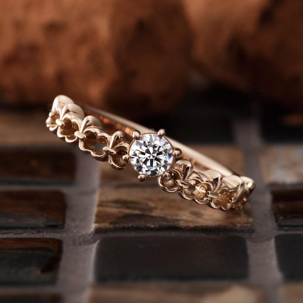 Fontaine 婚約指輪 キュート 個性派 ストレート ピンクゴールド
