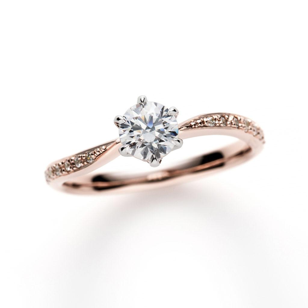 Franc Boise Sour 婚約指輪 エレガント キュート S字(ウェーブ) エタニティ プラチナ ピンクゴールド コンビ