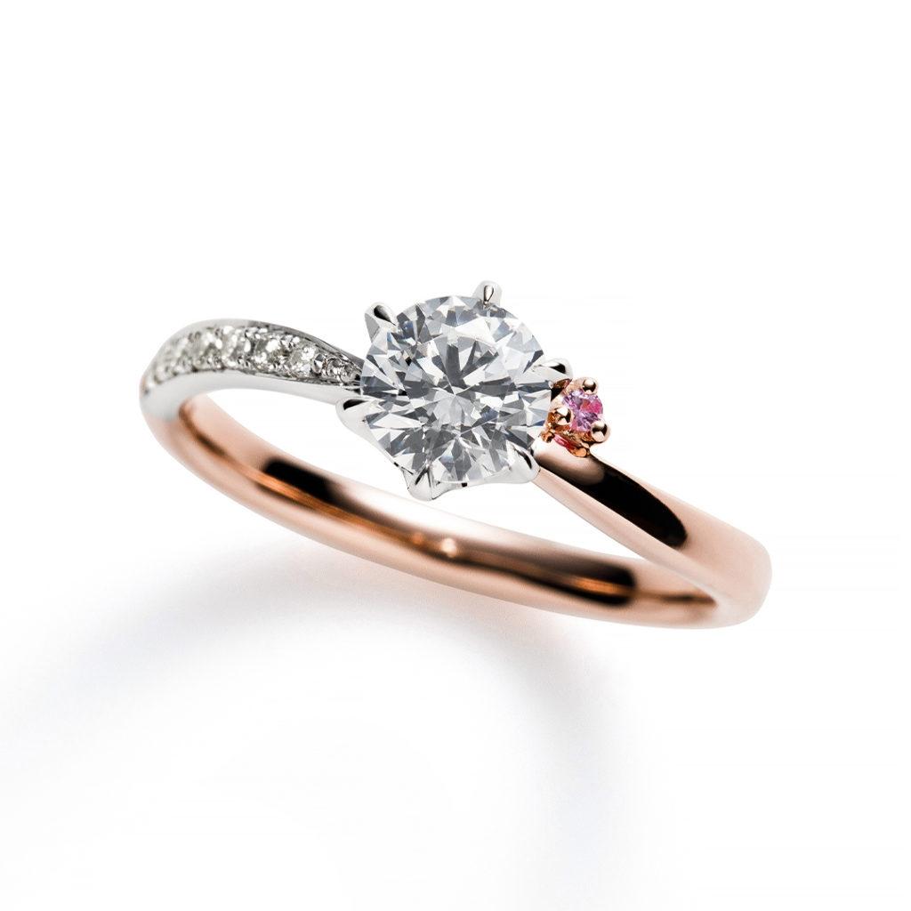 Frozen Strawberry 婚約指輪 エレガント キュート S字(ウェーブ) ピンクゴールド コンビ