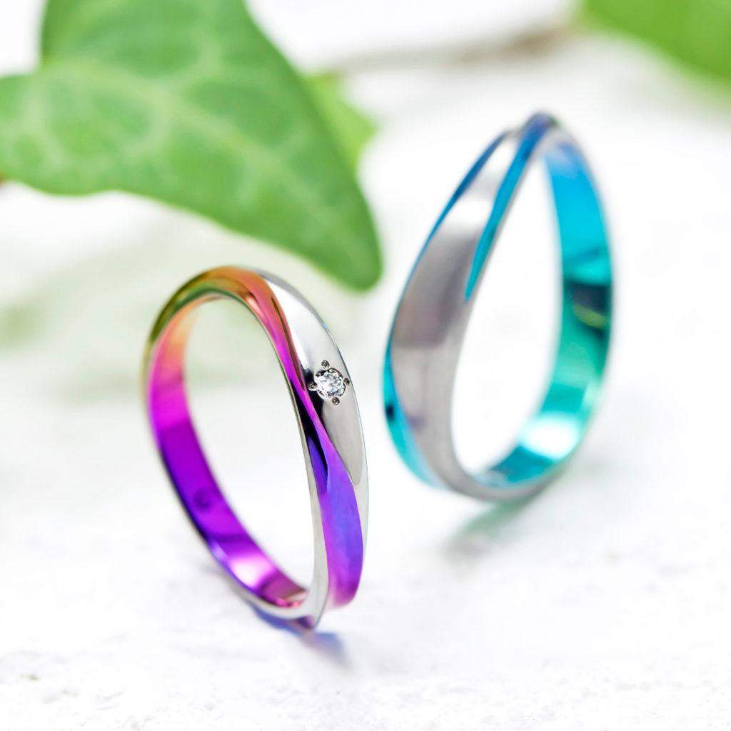 GANGA 結婚指輪 個性派 V字(ウェーブ) ジルコニウム
