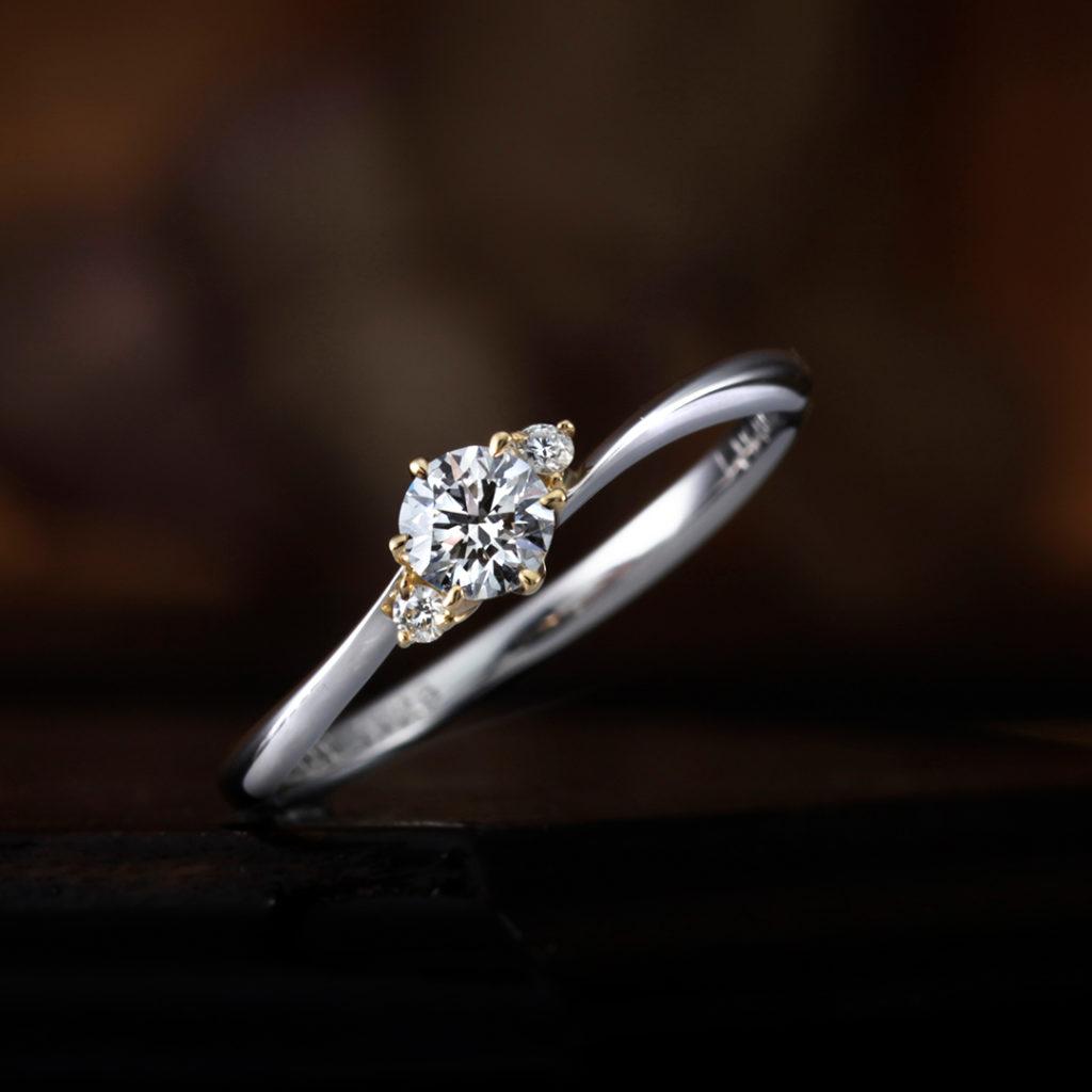 GERANIUM 婚約指輪 アンティーク 個性派 S字(ウェーブ) プラチナ