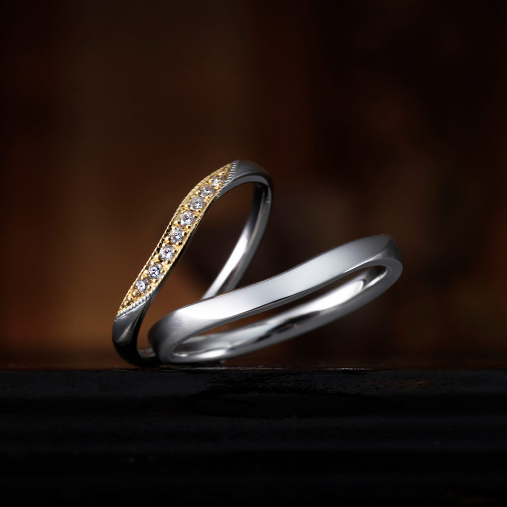 GERANIUM 結婚指輪 アンティーク 個性派 S字(ウェーブ) エタニティ コンビ