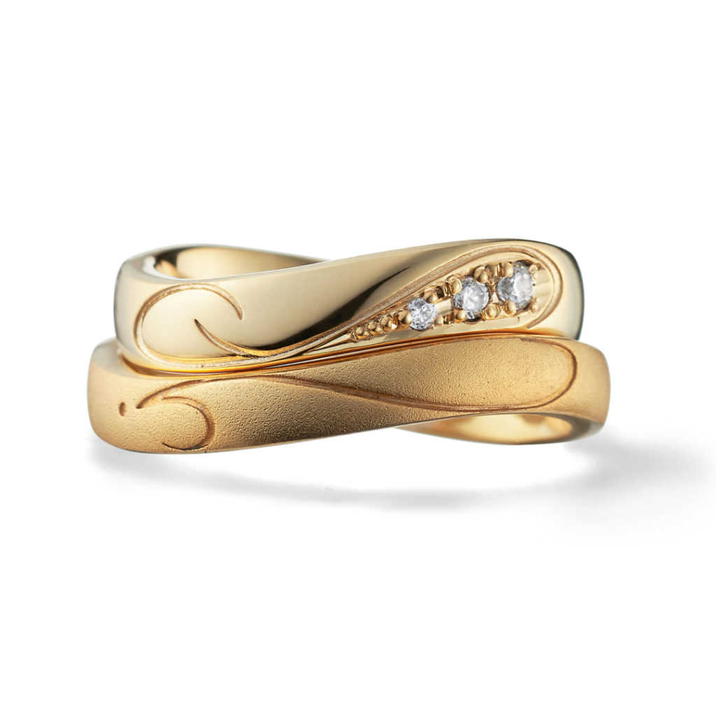 initial 結婚指輪 シンプル S字(ウェーブ) イエローゴールド