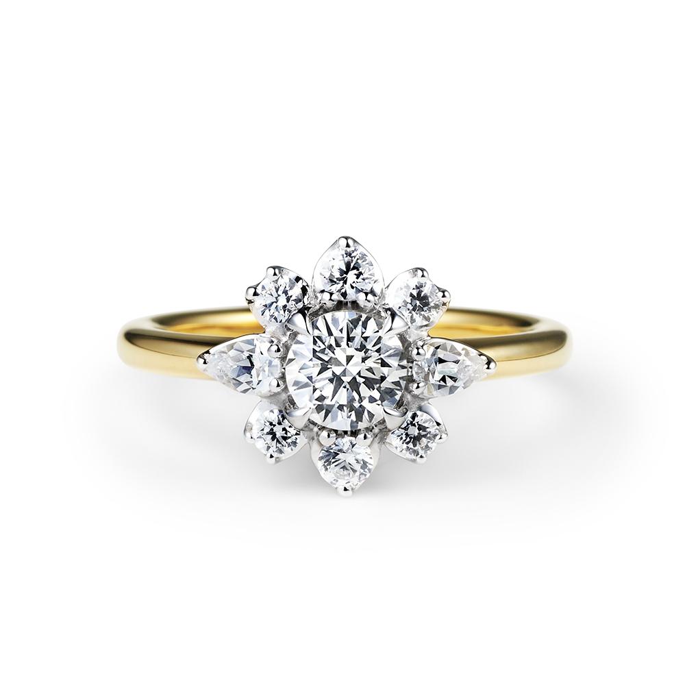 HANABISHI 婚約指輪 シンプル エレガント 個性派 ストレート コンビ