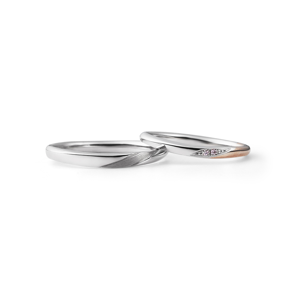 HANAKAGE 結婚指輪 シンプル エレガント アンティーク キュート S字(ウェーブ) プラチナ ピンクゴールド