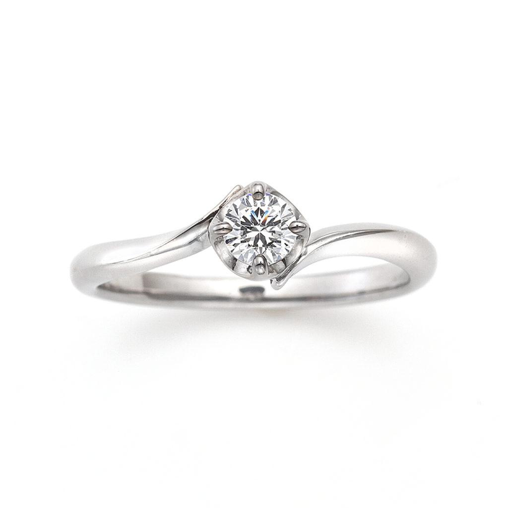 Honesty 婚約指輪 シンプル S字(ウェーブ) プラチナ