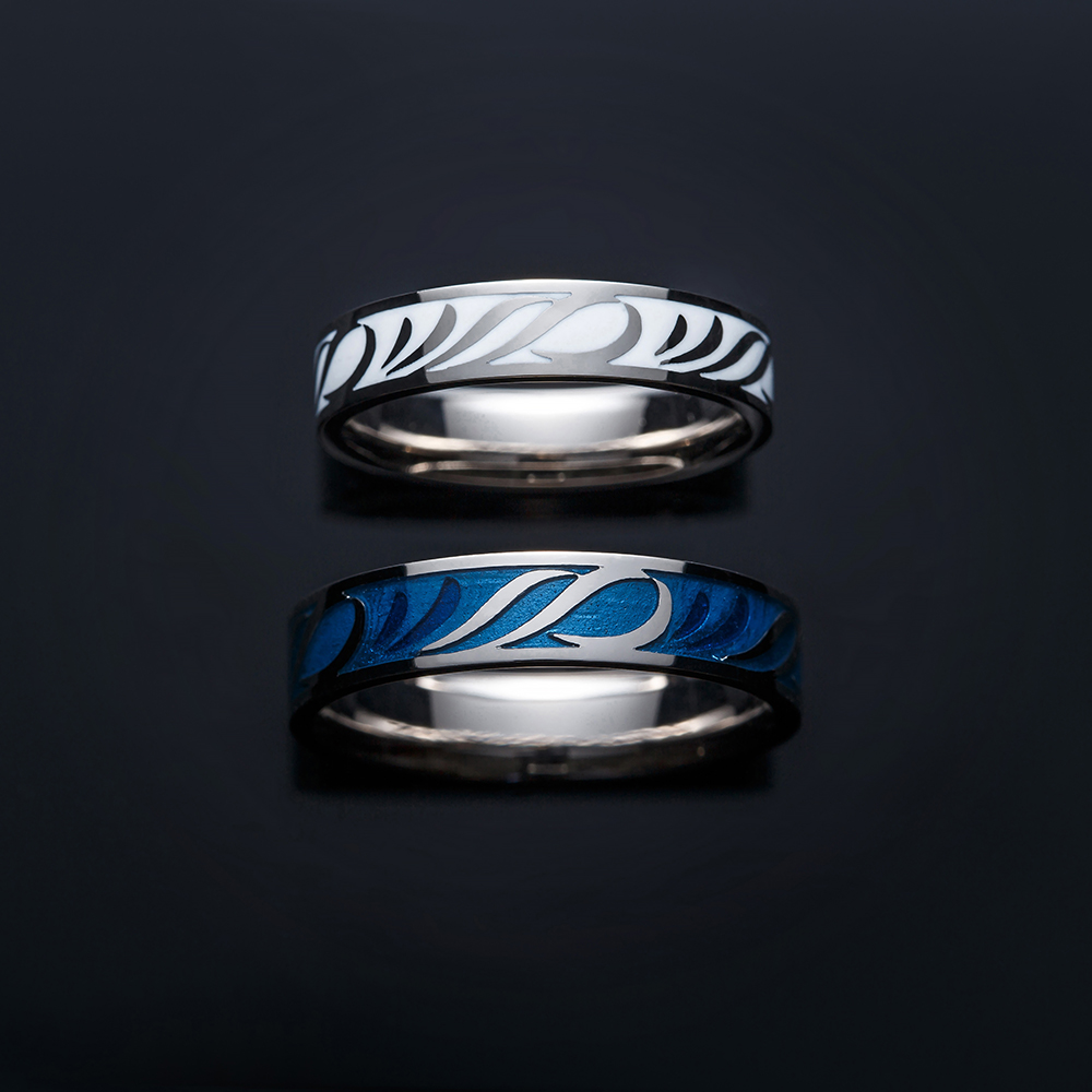 大河 結婚指輪 個性派 ストレート 幅広 ホワイトゴールド