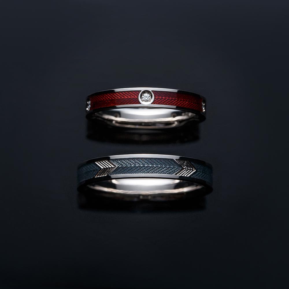 音羽 結婚指輪 個性派 ストレート 幅広 ホワイトゴールド