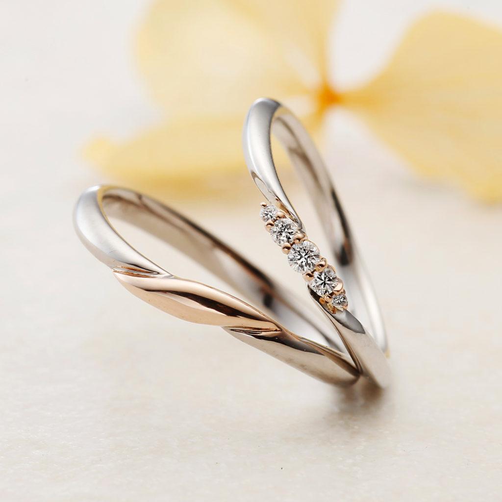 IRIS 結婚指輪 シンプル キュート S字(ウェーブ) コンビ