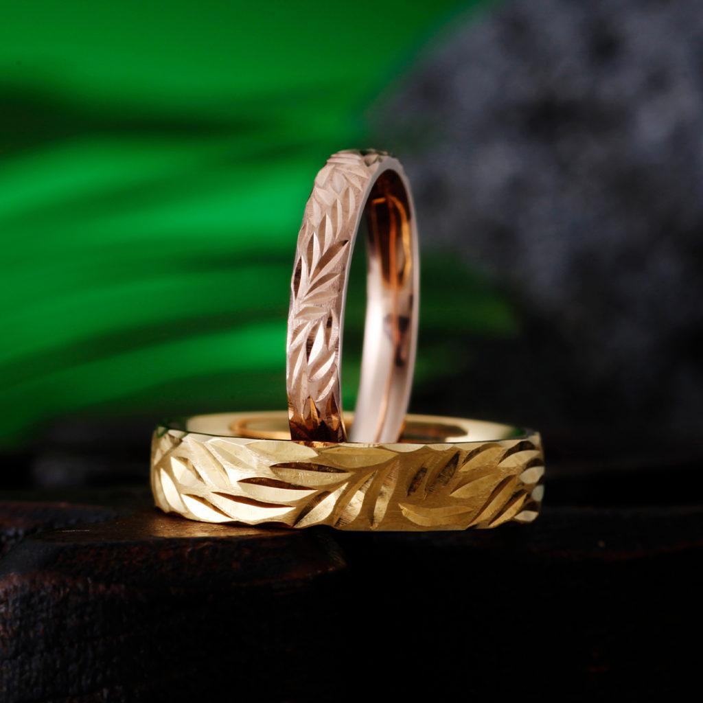 KANALOA 結婚指輪 個性派 ストレート 幅広 イエローゴールド ピンクゴールド