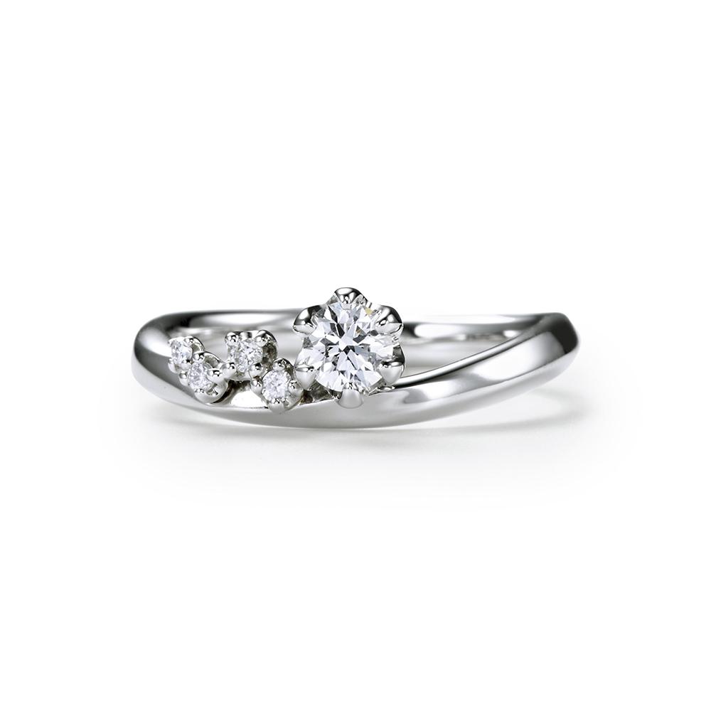 KARAGINU 婚約指輪 エレガント 個性派 V字(ウェーブ) プラチナ
