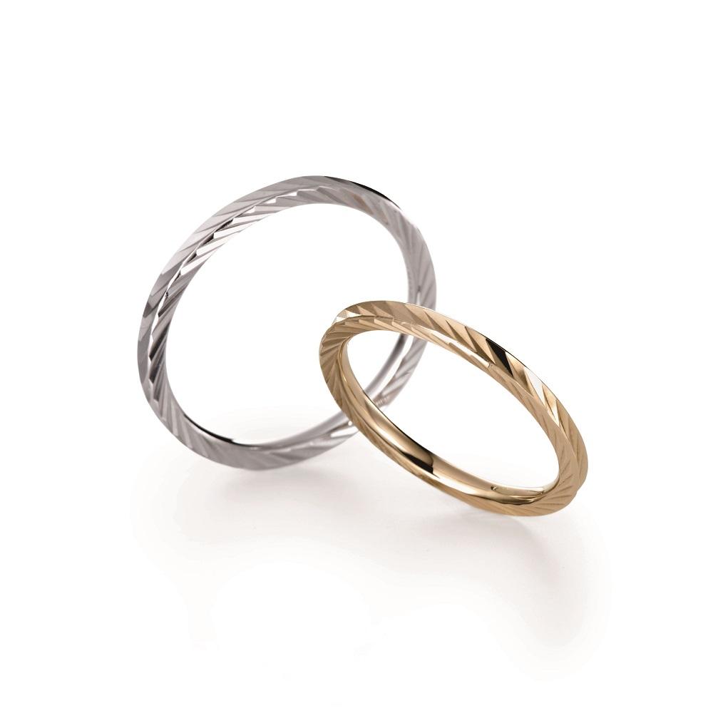 KAZAGURUMA 結婚指輪 アンティーク 個性派 ストレート プラチナ イエローゴールド