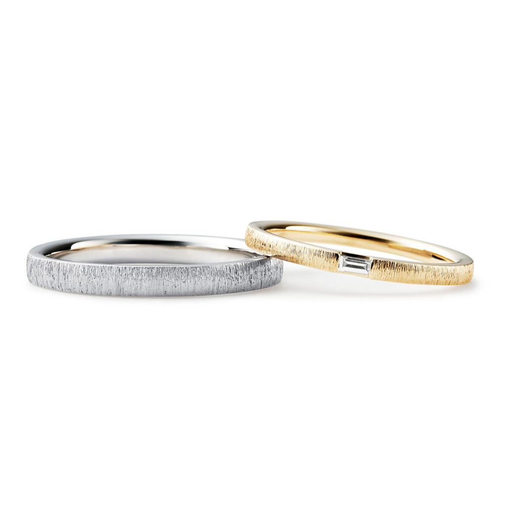 KINU 結婚指輪 アンティーク 個性派 ストレート プラチナ イエローゴールド