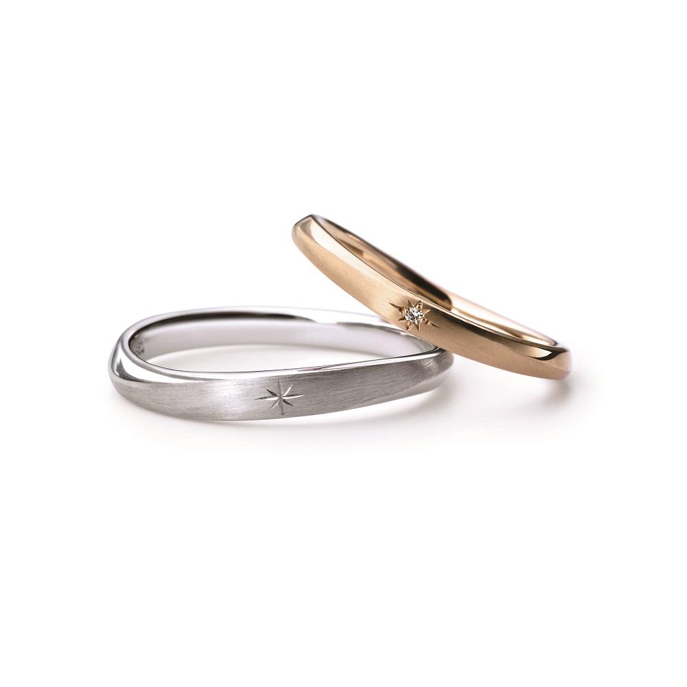 KIRIKO 結婚指輪 シンプル アンティーク S字(ウェーブ) V字(ウェーブ) プラチナ ピンクゴールド