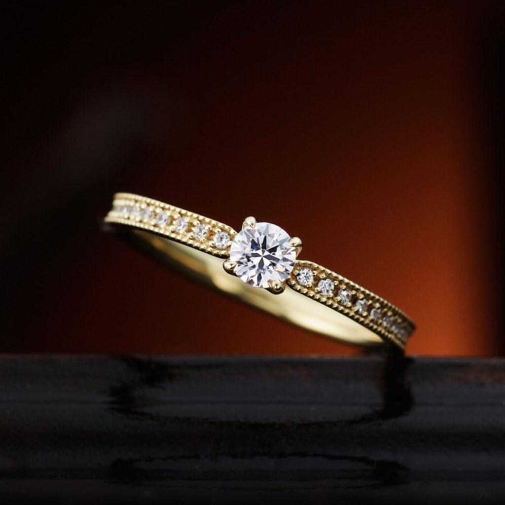 LILY 婚約指輪 アンティーク エタニティ イエローゴールド