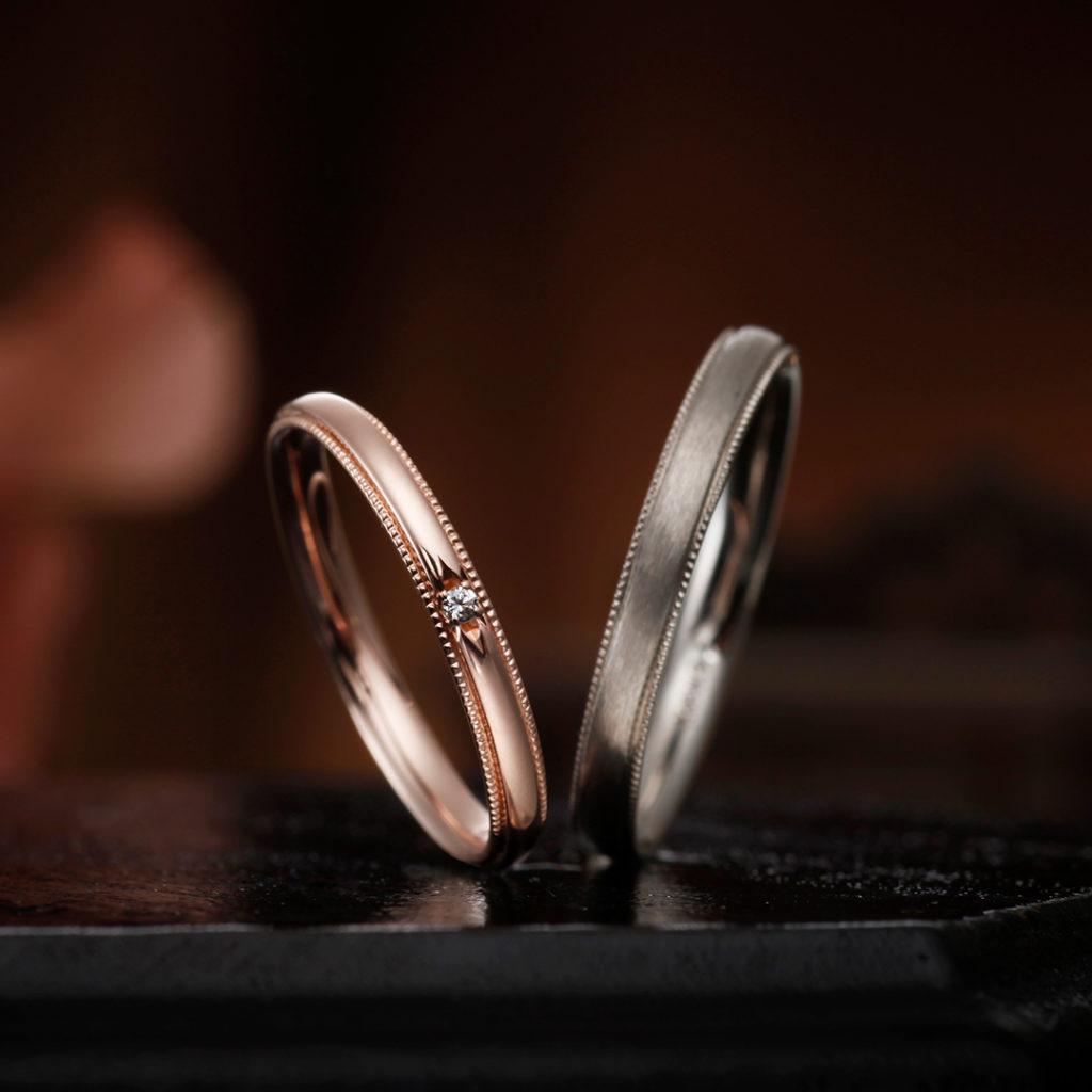 LILY 結婚指輪 アンティーク キュート ストレート ホワイトゴールド ピンクゴールド