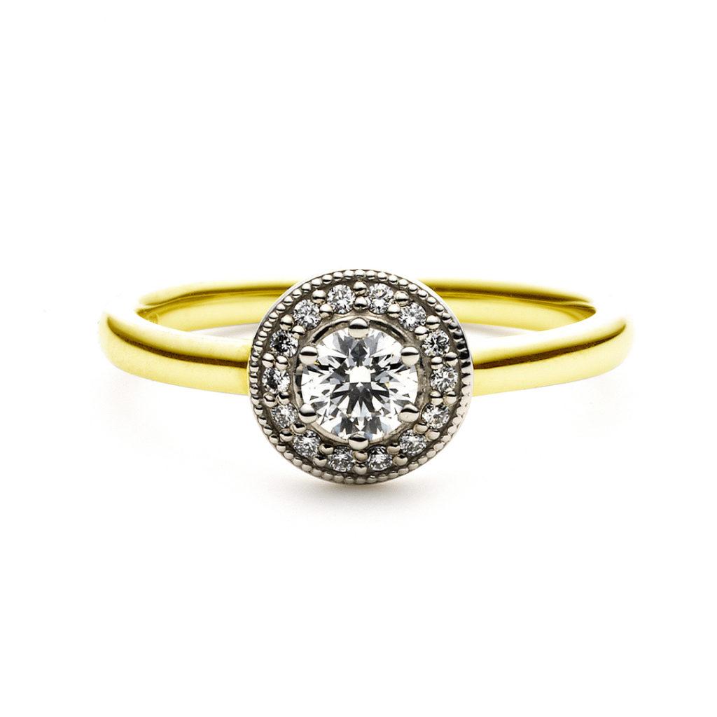 LOFTE 婚約指輪 エレガント アンティーク ストレート プラチナ イエローゴールド コンビ