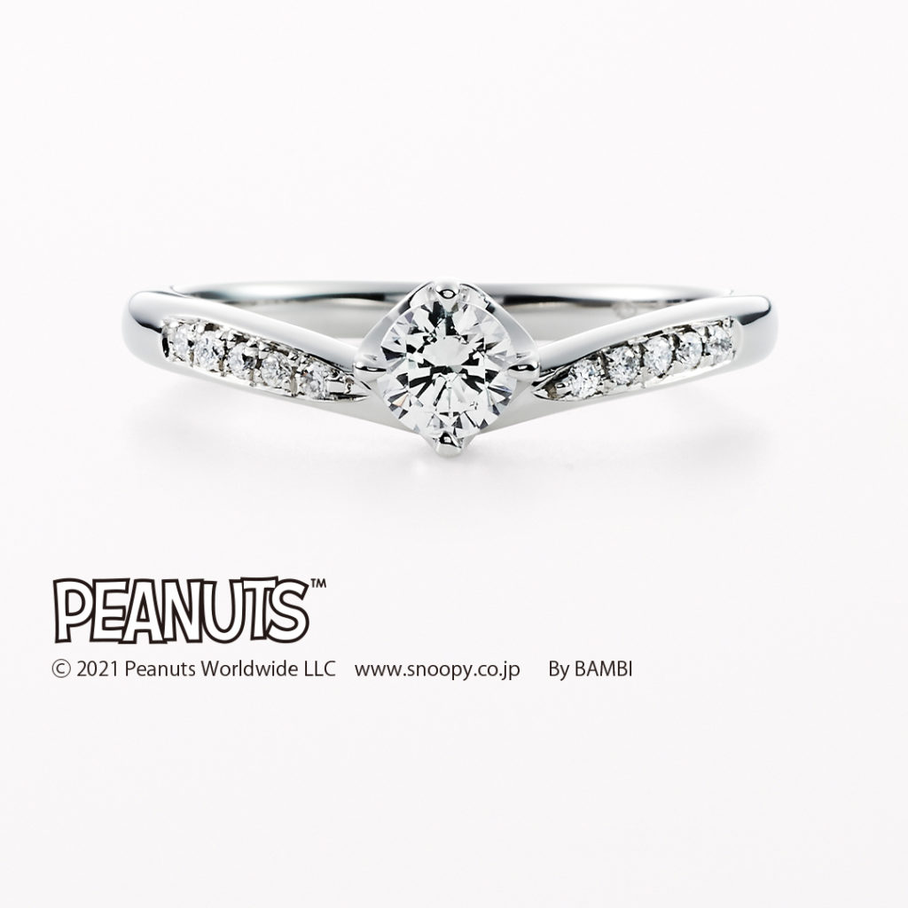 LOVE~ラブ~ 婚約指輪 キュート 個性派 V字(ウェーブ) プラチナ