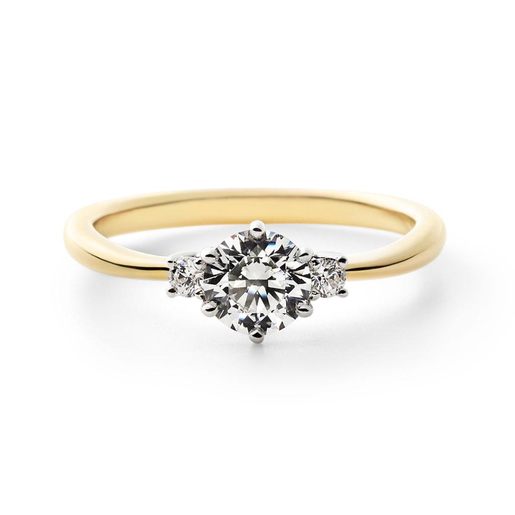 LUMEN 婚約指輪 シンプル エレガント ストレート プラチナ イエローゴールド コンビ