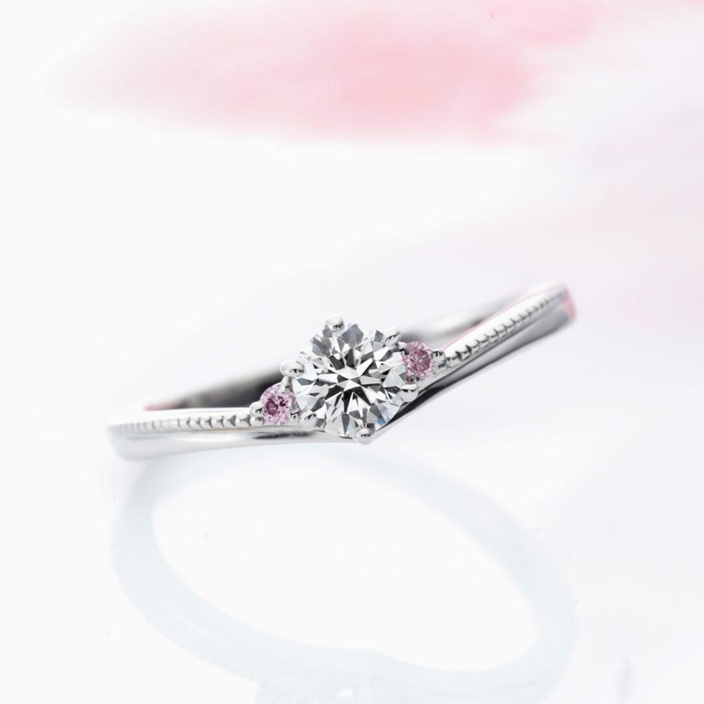 La Murmure 婚約指輪 エレガント キュート V字(ウェーブ) プラチナ