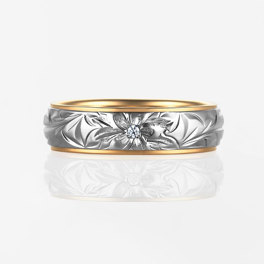 Lala Mana-Twotone Barrel- 結婚指輪 個性派 ストレート 幅広 コンビ