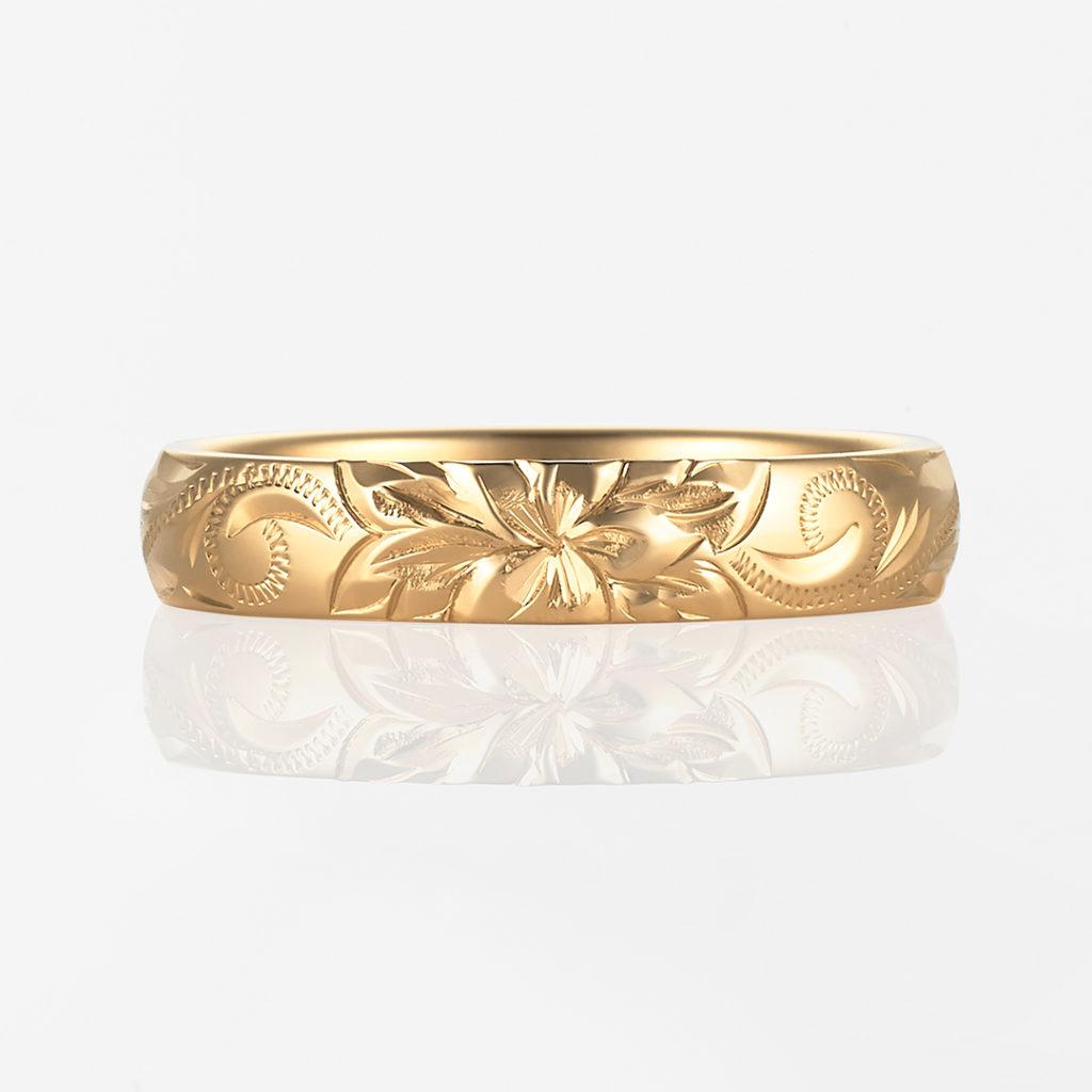 Lala Nalu-Plain Barrel- 結婚指輪 シンプル 個性派 ストレート イエローゴールド