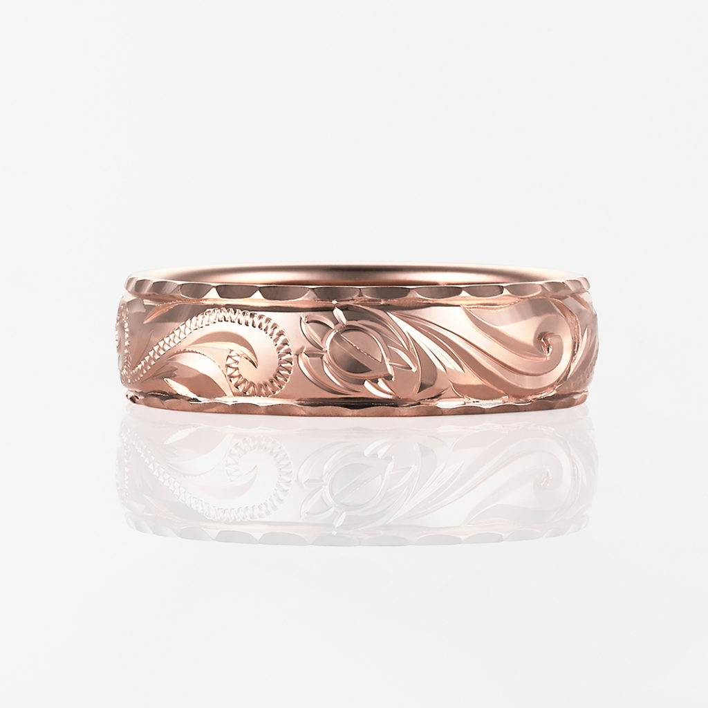 Launa-Plain Barrel- 結婚指輪 シンプル 個性派 ストレート 幅広 ピンクゴールド