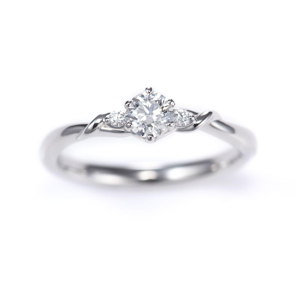 LiAnge 婚約指輪 シンプル キュート S字(ウェーブ) プラチナ