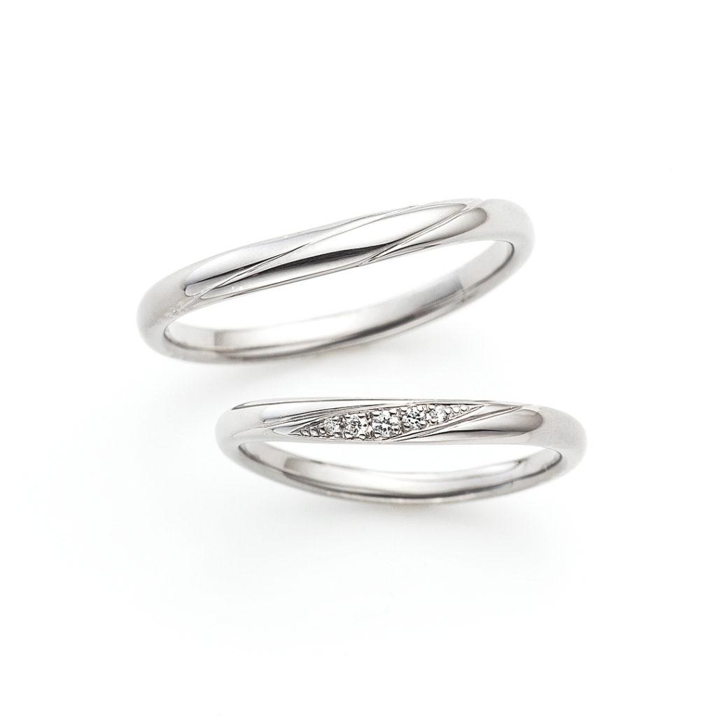 Lullaby 結婚指輪 シンプル V字(ウェーブ) プラチナ