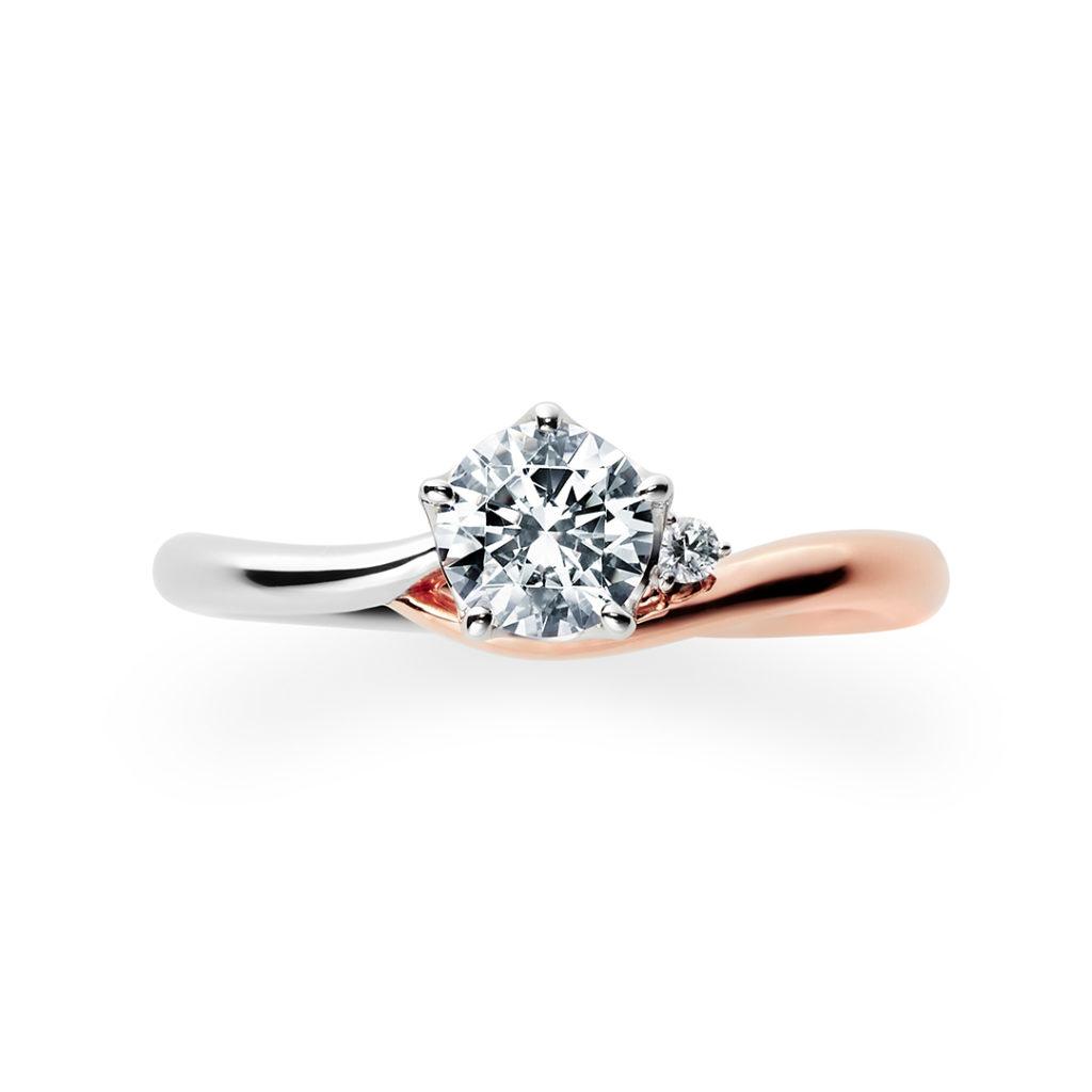 Lune 婚約指輪 シンプル 個性派 S字(ウェーブ) プラチナ ピンクゴールド コンビ