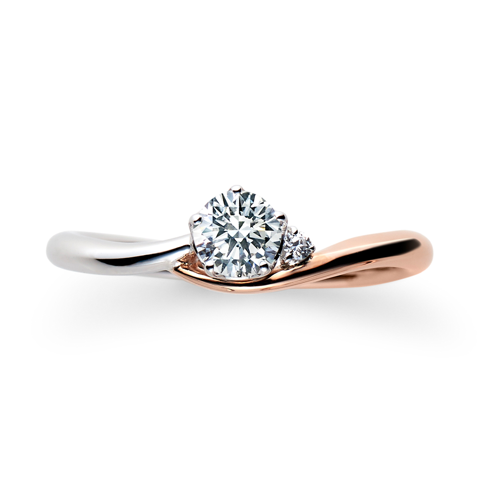Lune 婚約指輪 エレガント キュート S字(ウェーブ) プラチナ ピンクゴールド コンビ