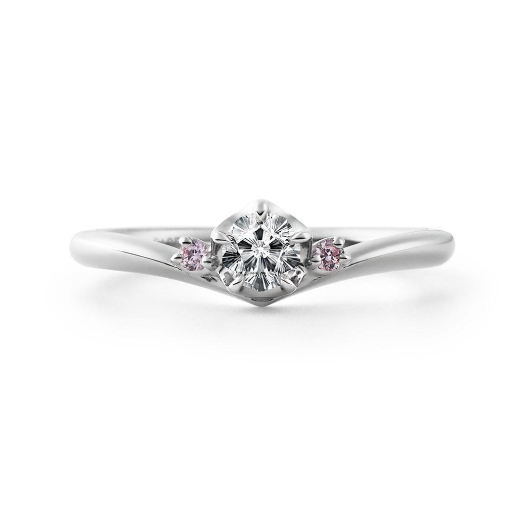 MAIZAKURA 婚約指輪 エレガント キュート 個性派 V字(ウェーブ) プラチナ