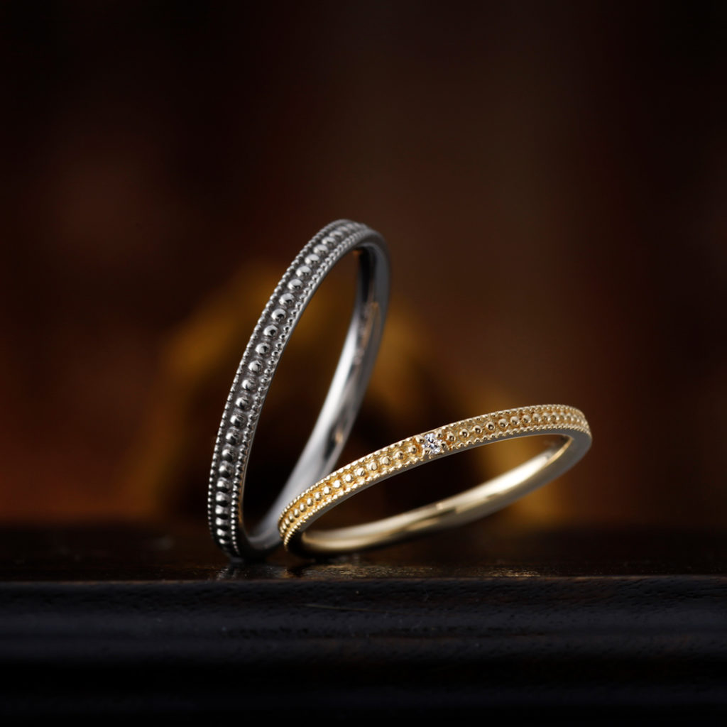 MARGUERITE 結婚指輪 シンプル アンティーク ストレート プラチナ イエローゴールド