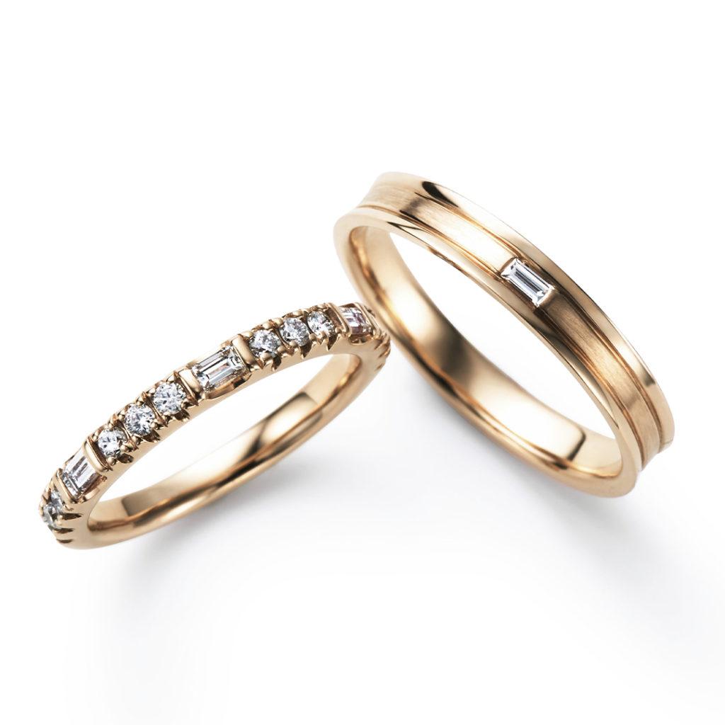 MASAME 結婚指輪 エレガント アンティーク ストレート イエローゴールド
