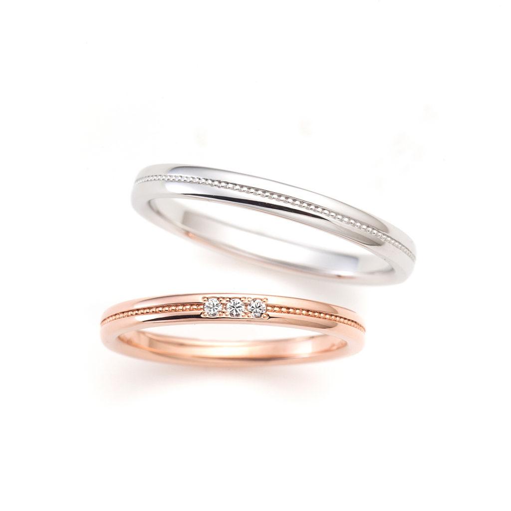 MELODY 結婚指輪 アンティーク キュート ストレート プラチナ ピンクゴールド