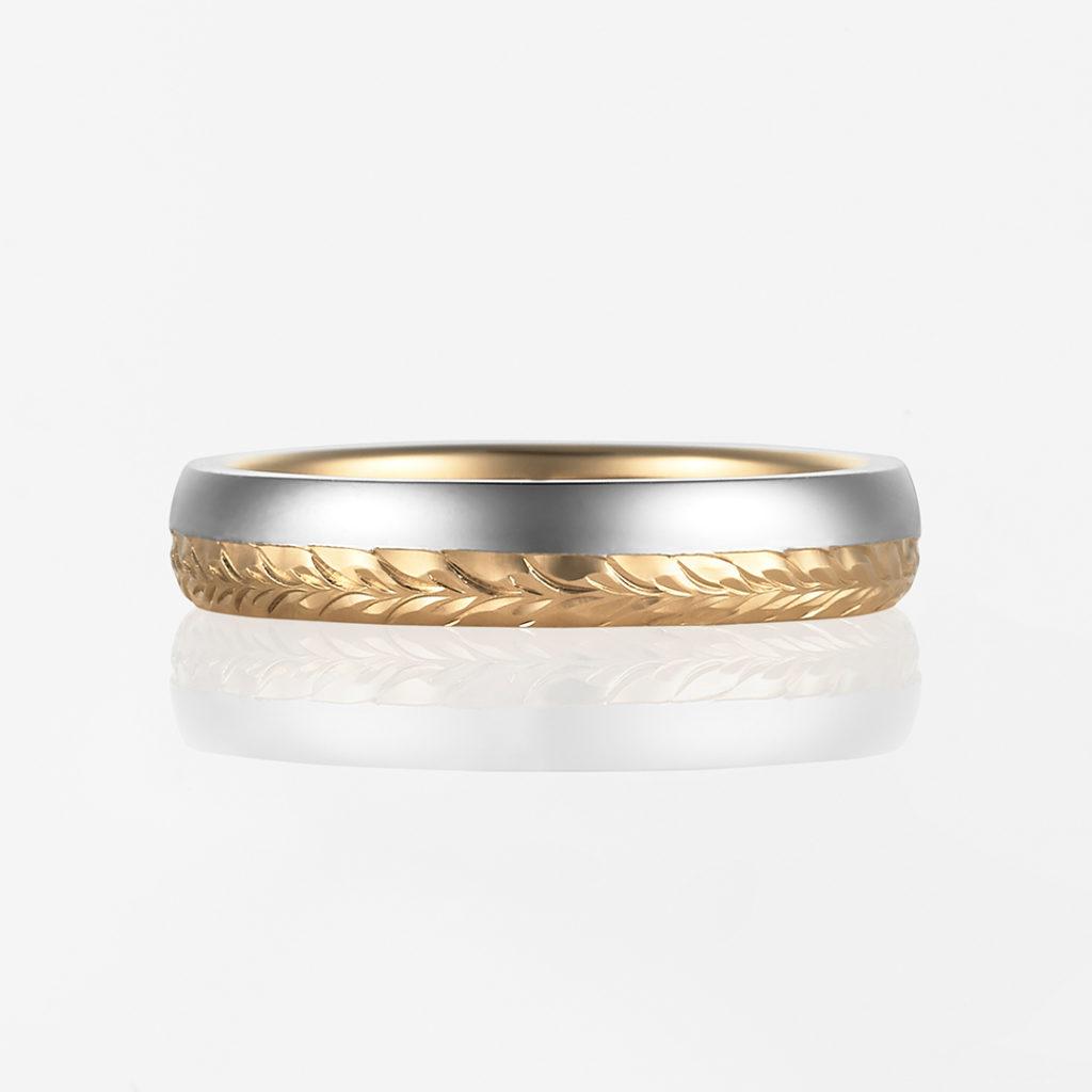 Maka-Combination Barrel- 結婚指輪 個性派 ストレート プラチナ イエローゴールド コンビ