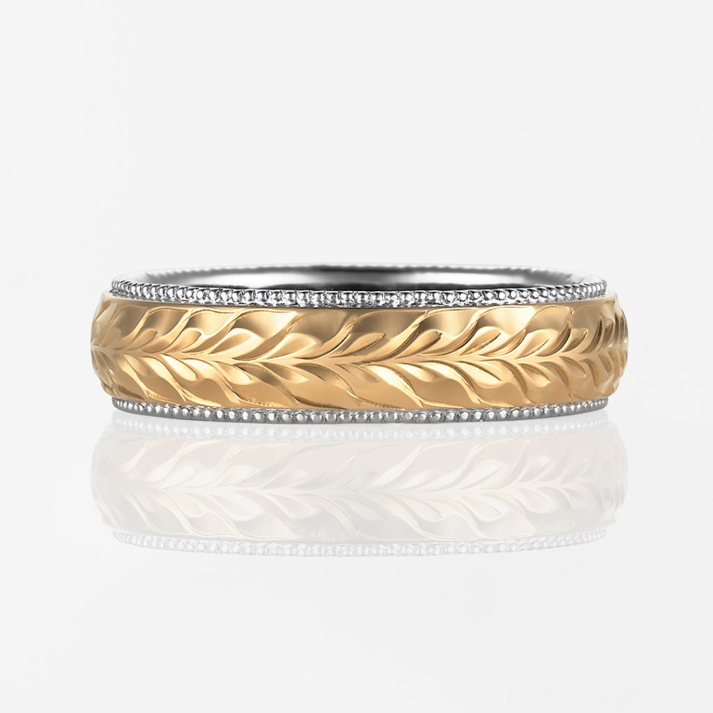 Maka-Twotone Barrel- 結婚指輪 個性派 ストレート 幅広 イエローゴールド コンビ