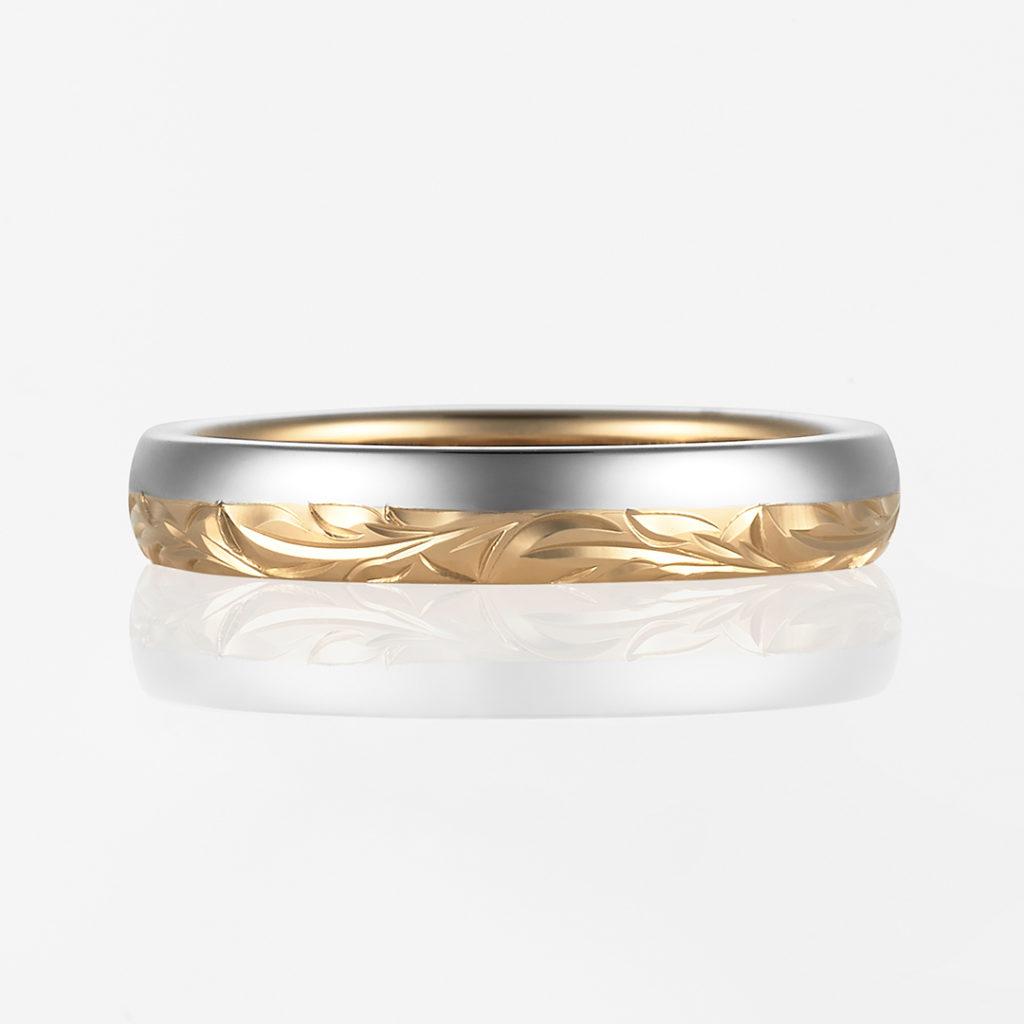 Mana-Combination Barrel- 結婚指輪 個性派 ストレート 幅広 コンビ