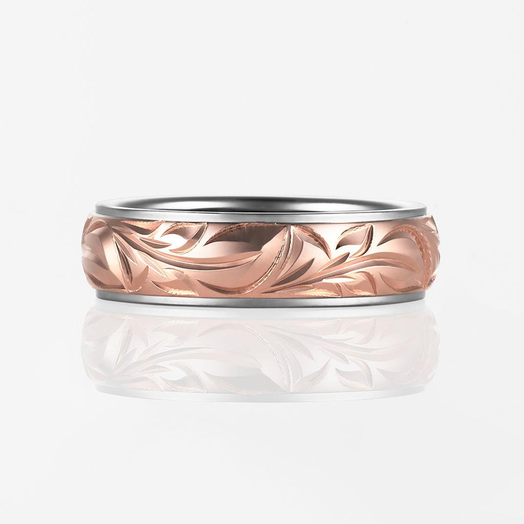 Mana-Twotone Barrel- 結婚指輪 キュート 個性派 ストレート 幅広 ピンクゴールド