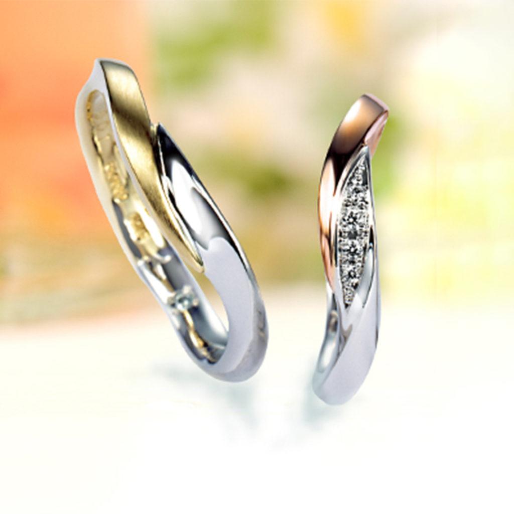 Marigold 結婚指輪 シンプル エレガント S字(ウェーブ) コンビ