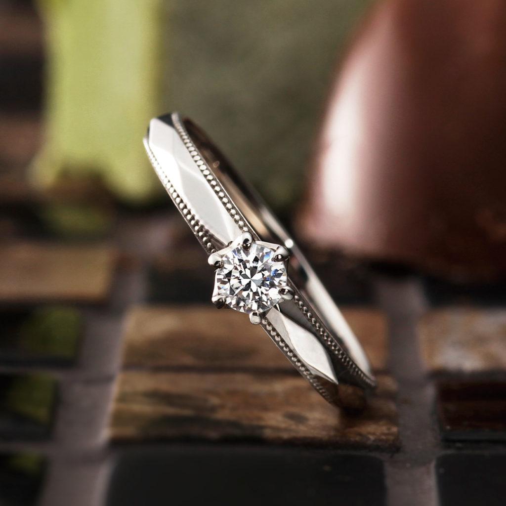 Matin 婚約指輪 シンプル アンティーク ストレート プラチナ