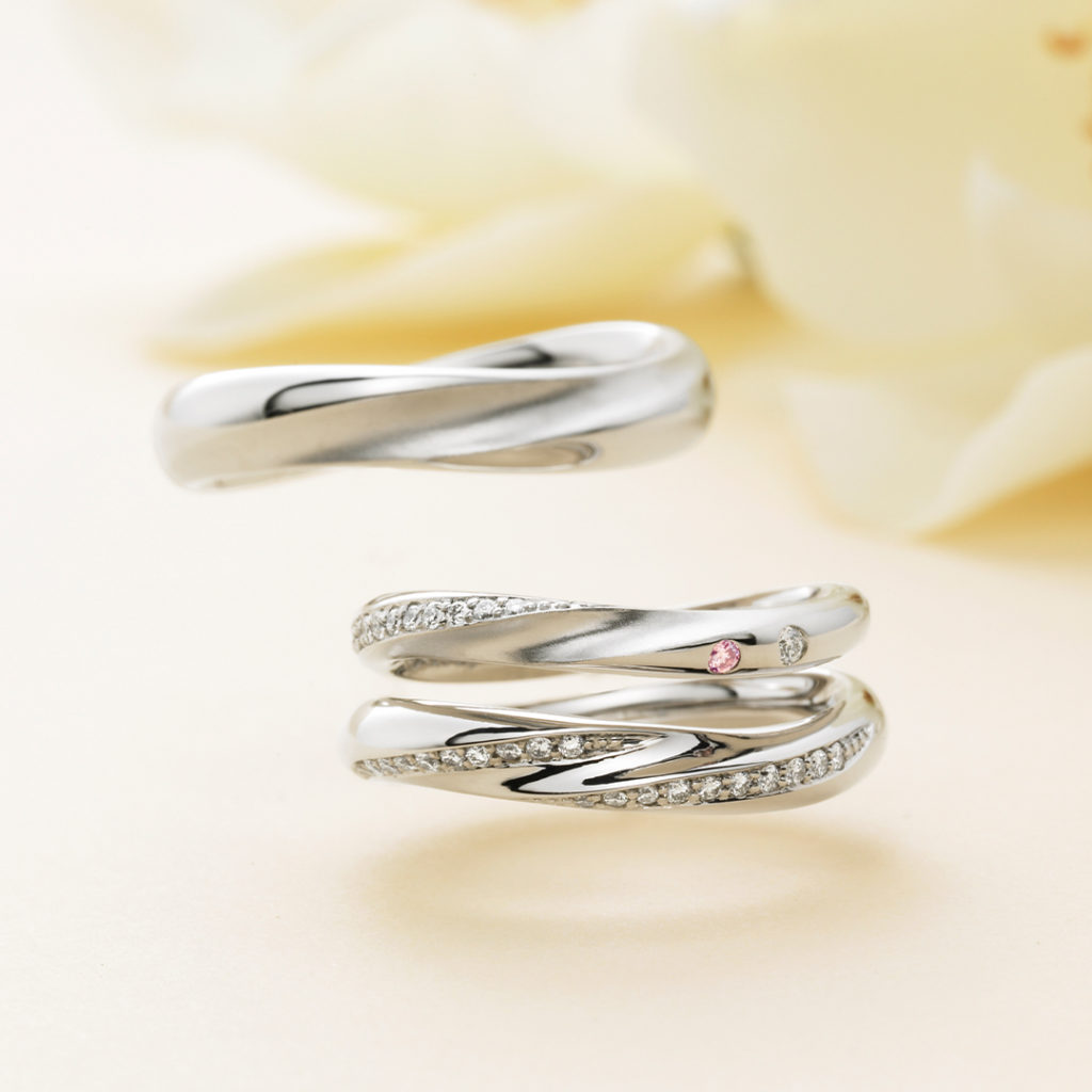 Mer メール 結婚指輪 キュート 個性派 S字(ウェーブ) プラチナ