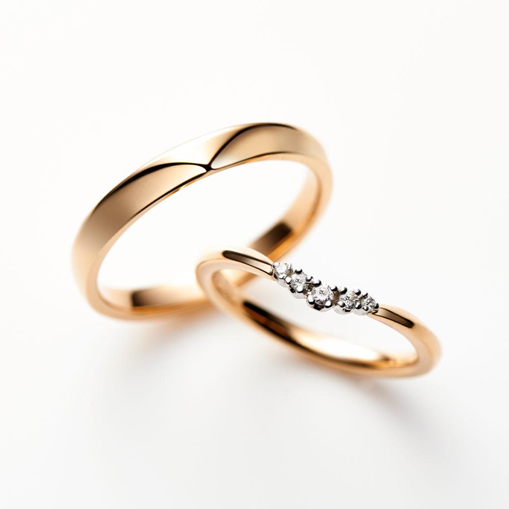 Muguet 結婚指輪 キュート V字(ウェーブ) ピンクゴールド