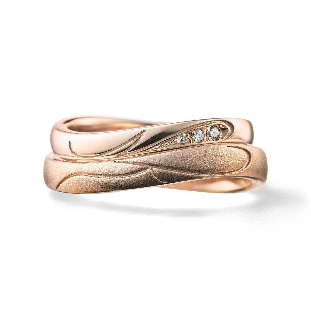 initial 結婚指輪 シンプル S字(ウェーブ) ピンクゴールド