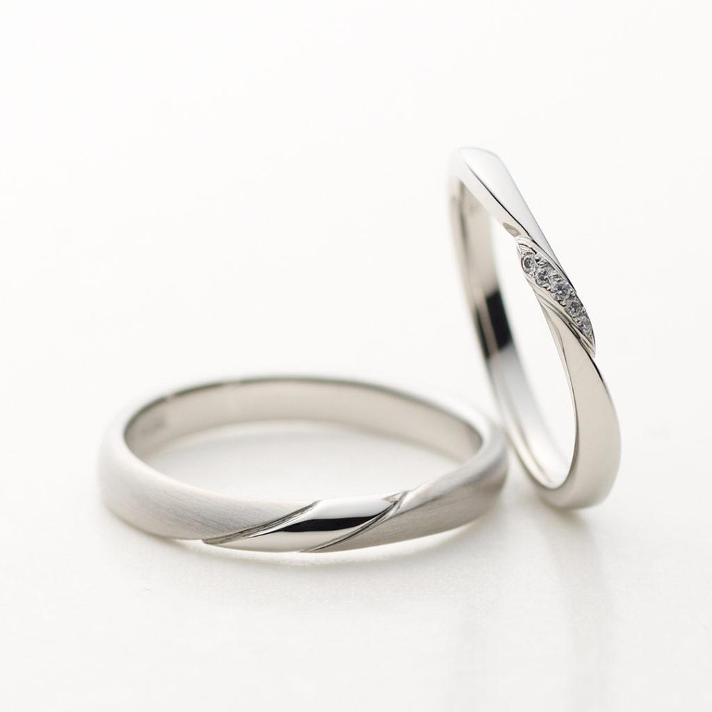 NOCTURNE 結婚指輪 シンプル S字(ウェーブ) プラチナ