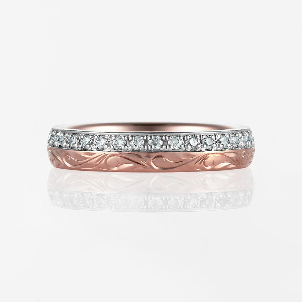 Nalu-Combination Barrel- 結婚指輪 シンプル キュート ストレート 幅広 コンビ