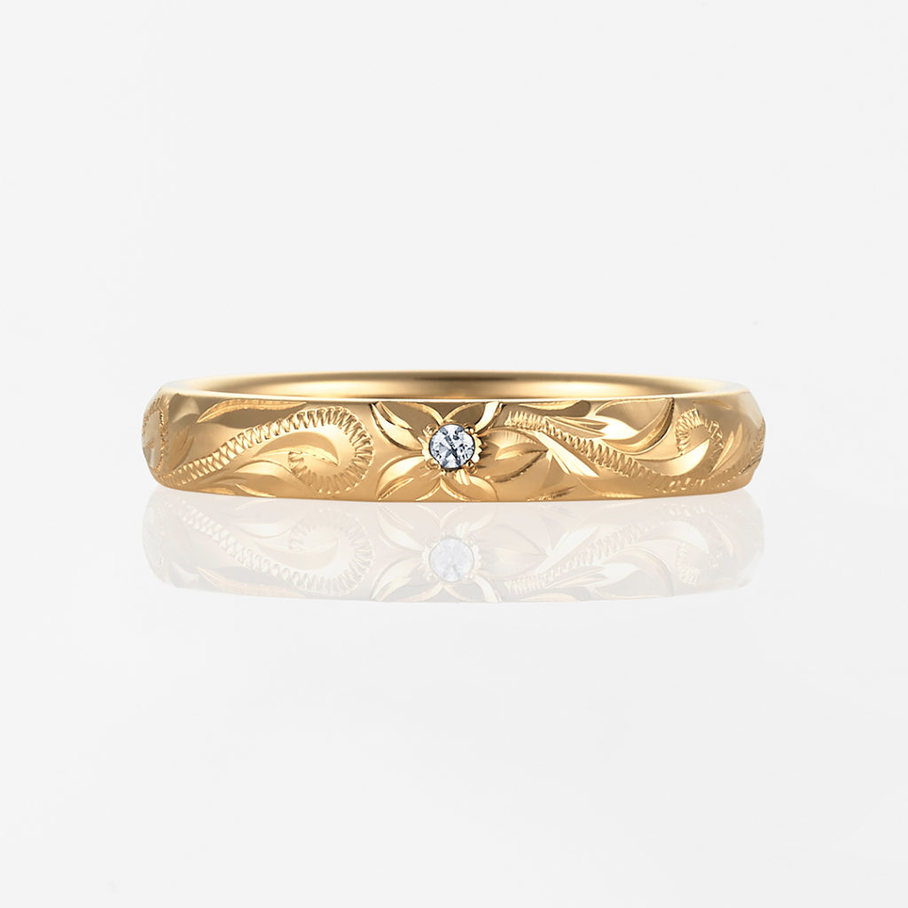 Nalu-Plain Barrel- 結婚指輪 シンプル 個性派 ストレート 幅広 イエローゴールド