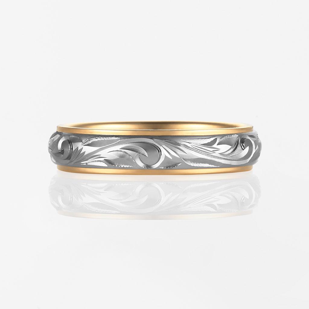 Nalu-Twotone Barrel- 結婚指輪 シンプル 個性派 ストレート コンビ